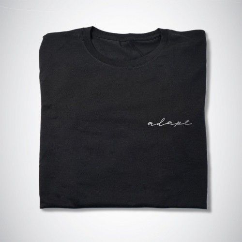 Image of Adapt black script t-shirt T#002