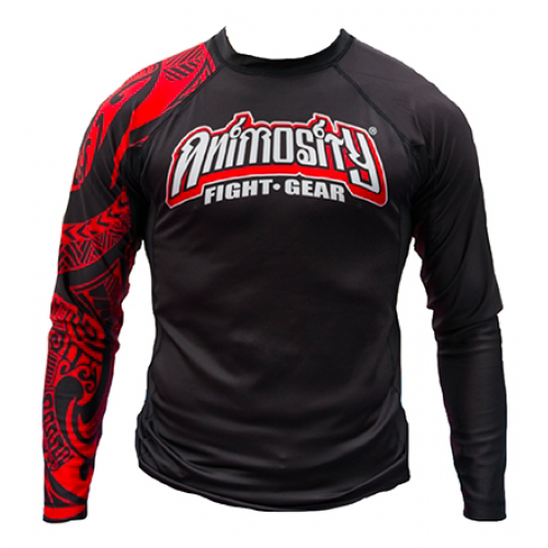"Image of ANIMOSITY ""TRIBAL2"" RASH GUARD - BLACK"
