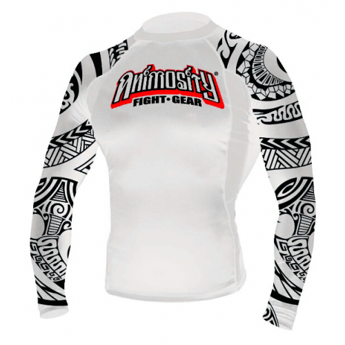 "Image of ANIMOSITY ""TRIBAL2"" RASH GUARD - WHITE"