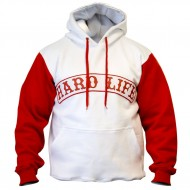 HARD LIFE HOODIE WHITE / RED