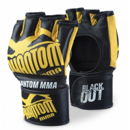 PHANTOM BLACKOUT LEATHER ADULT MMA FIGHT GLOVES BLACK/YELLOW