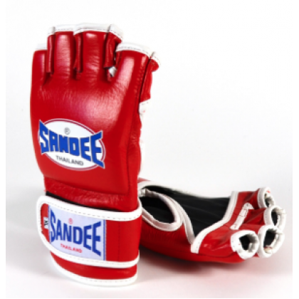 Sandee Red & White Leather MMA Fight Glove