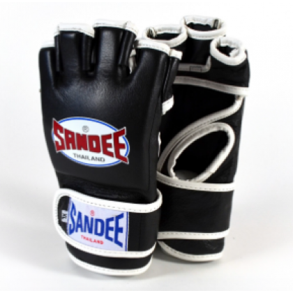 Sandee Black & White Leather MMA Fight Glove