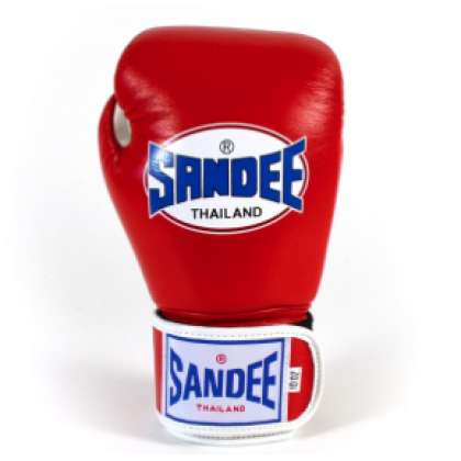 Sandee Authentic Velcro Red & White Leather Boxing Glove