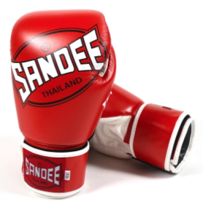Sandee Cool-Tec Velcro Red, White & Black Leather Boxing Glove