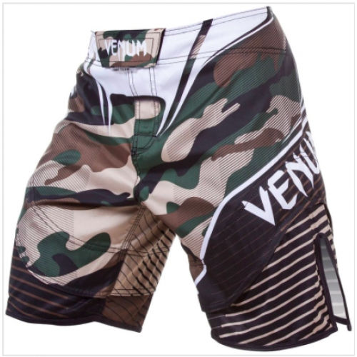 Image of VENUM CAMO HERO FIGHT SHORTS GREEN/BROWN