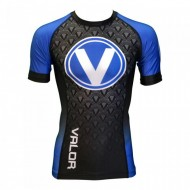 Valor IBJJF Short Sleeve Rank Rash Guard Blue