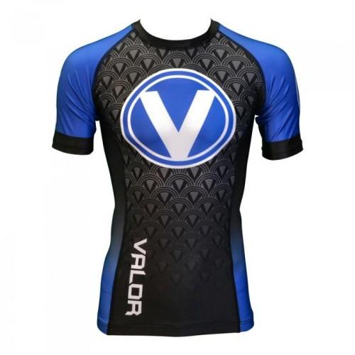 Image of Valor IBJJF Short Sleeve Rank Rash Guard Blue