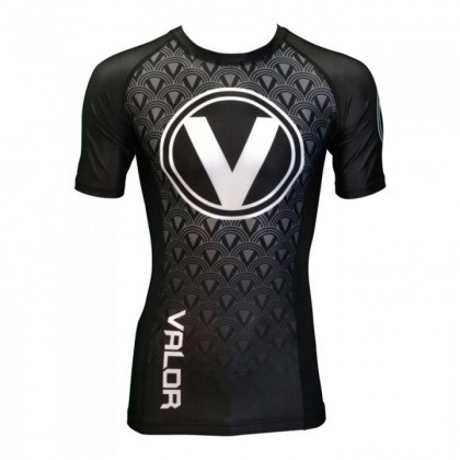 VALOR IBJJF SHORT SLEEVED RANK RASH GUARD - BLACK