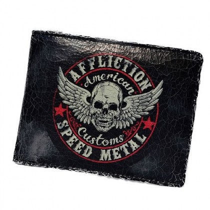 AFFLICTION SPEED METAL WALLET- BLACK